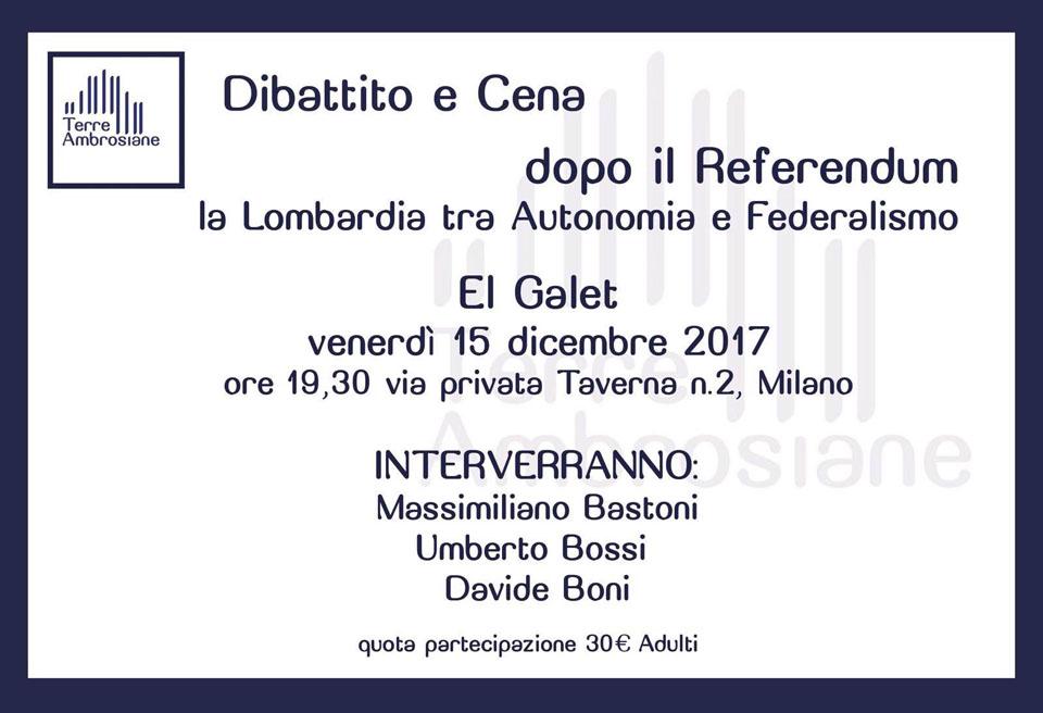 Eventi 2017 – Dibatto e Cena dopo il Referendum